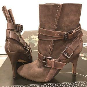 Jean-Michel Cazabat olive grey, mid-calf boots.
