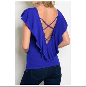 Tops - Royal Blue Criss Cross Back Top