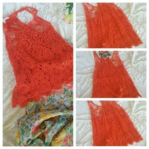 Lauren Conrad Tops - Bright Orange Lauren Conrad crochet Blouse Med