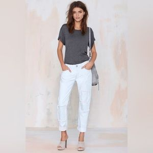 Light Wash Patch Slim Straight Jeans