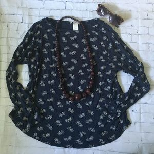 Navy Blue Viscose Swing Top with Bicycle Print