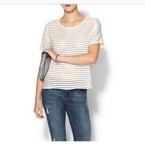 JOA Tops - JOA white sheer striped top