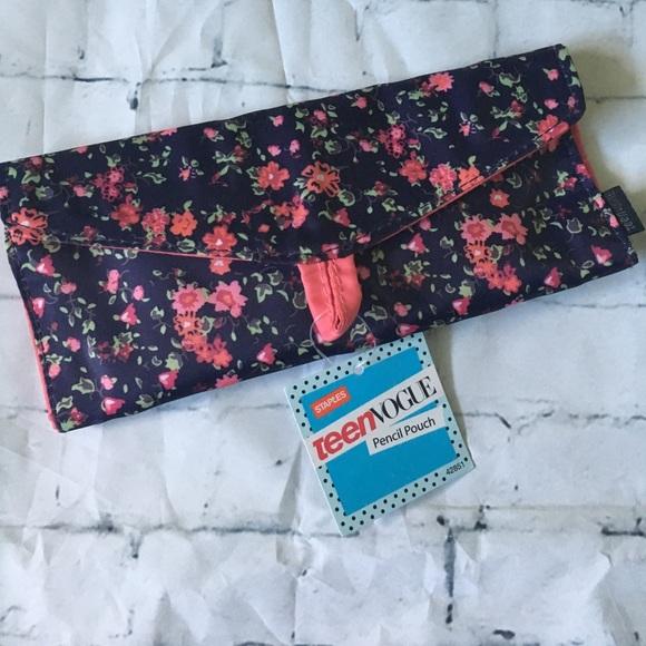 teen vogue Handbags - Teen Vogue Blue Floral Pencil/Brush Case FREE WP