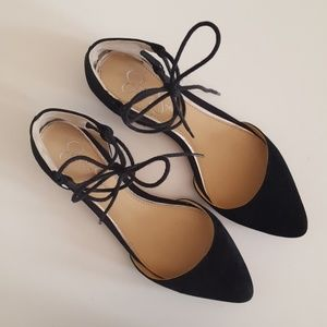 Jessica Simpson Shoes - Black Suede Pointed Toe Lace Up Flats