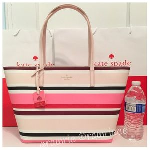 New Kate Spade striped saffiano leather zip tote