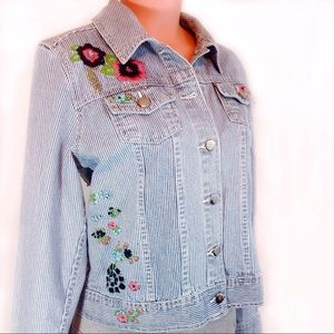 Christopher & Banks Jackets & Blazers - Christopher & Banks Floral Embroidery Denim Jacket