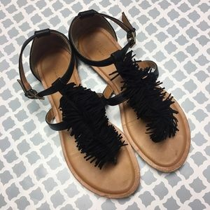 Old Navy Black Fringe Sandals