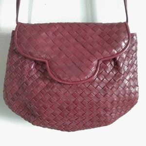 vintage 90's burgundy woven leather shoulder bag
