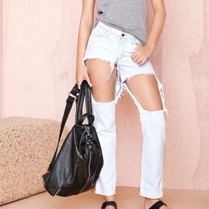 Nasty Gal Hole Distressed Boyfriend Jeans
