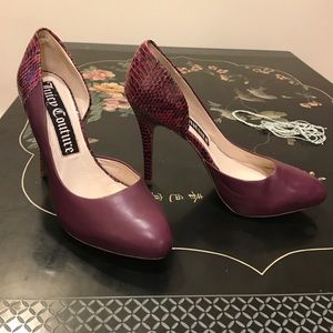 Juicy Couture purple platform heels w snakeskin