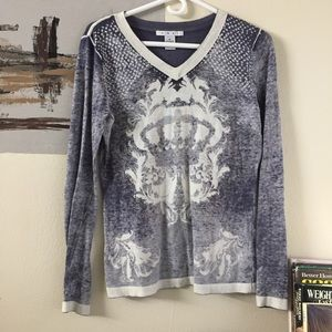 CAbi Tops - Cabi cashmere blend crown print very soft pullover