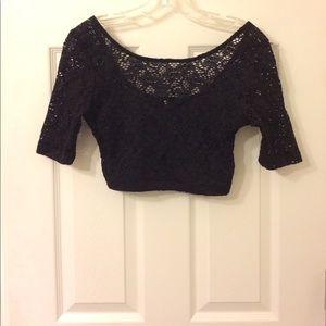 Black lace scoopneck crop top