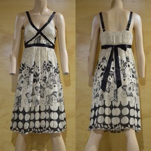 Halo Dresses & Skirts - Black Leaves and Flowers Cream Dress.   B8