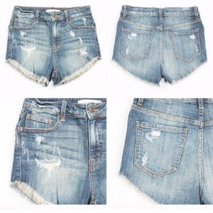 Pants - High Waisted Denim Shorts (XS S M L)