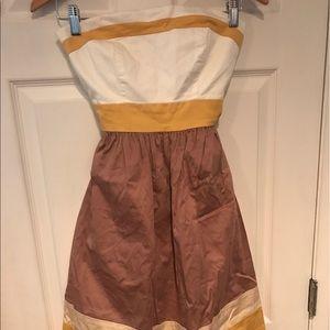 BCBG yellow strapless cocktail/summer dress
