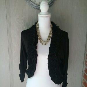 august silk Jackets & Blazers - AUGUST Silk Black Summer Shrug Jacket Ruffled S