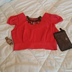 Foreign Exchange Tops - Hot Pink Fancy Crop Top