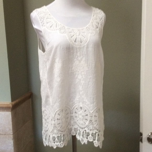 Adiva Tops - Beautiful embroidered ivory tank