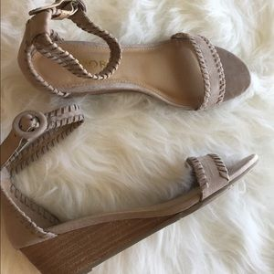 Report Shoes - Report miriam taupe low wedge heel sandals