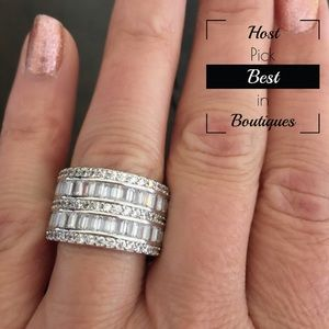 Jewelry - Sterling Silver White Sapphire Diamond Ring
