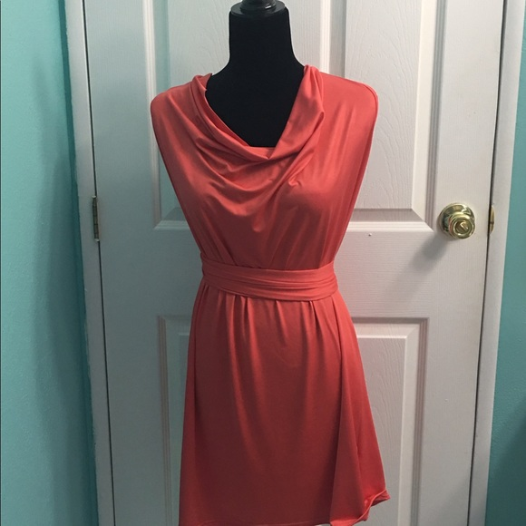 sale coral dress with a coral belt size l l from