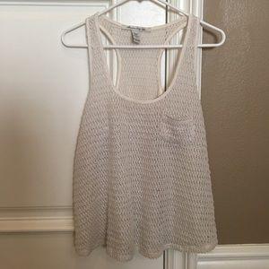 Tops - [LIKE NEW]: Crochet Cream Tank w/ Pocket