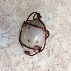 Ocean jasper and wire sculpture ring by wirequeen