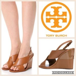 Tory Burch Gabrielle Wedge Sandal {Royal Tan} 8.5