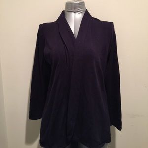 Classic Woman Sweaters - Navy Blue Open Front Cardigan