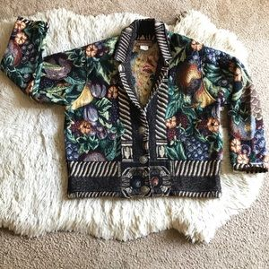 Vintage Jackets & Blazers - Painted Pony Fruit Print Tapestry Cotton Jacket