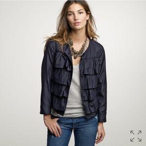 J. Crew Jackets & Blazers - J. Crew Silk Navy Ruffle Cascade Jacket