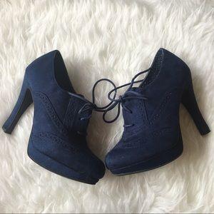 FIONI Clothing Shoes - Fioni blue suede vintage retro style pumps