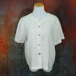 Orvis Tops - Orvis 100% Linen White Jacket/Blouse