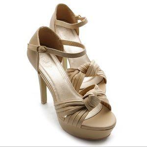 ollio Shoes - Beige ankle strap platform heels