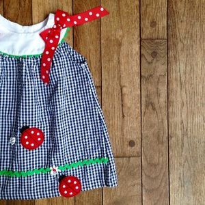 Rare Editions Other - Navy blue gingham sun dress w/ladybug appliqué