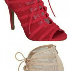 Red Peep toe lace up booties