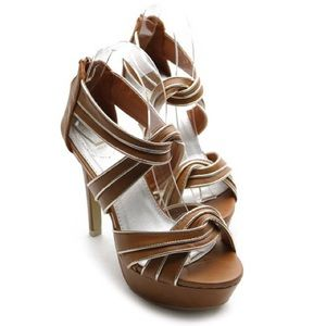 ollio Shoes - Brown platform high heels with silver lining