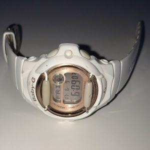 G-Shock Accessories - Baby-G Shock Watch: White/Rose-Gold!