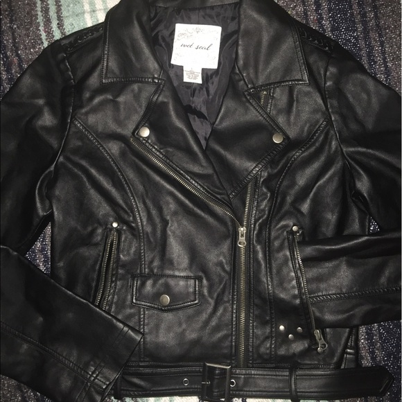 Leather jacket wet seal