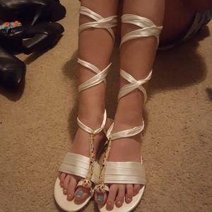 White tie up sandals