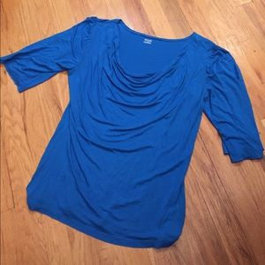 a.n.a electric blue Supersoft rayon 1/2 sleeve T