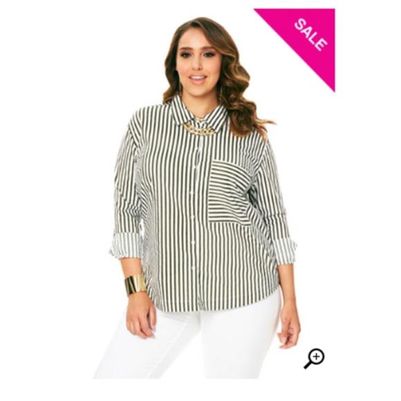 bcdc883f91  Ashley Stewart  BRAND NEW Olive Striped Shirt