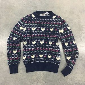 Vintage 70's lambswool angora heart sweater crew 2