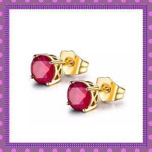 ❤️18K Yellow Gold Ruby Stud Pierced Earrings❤️