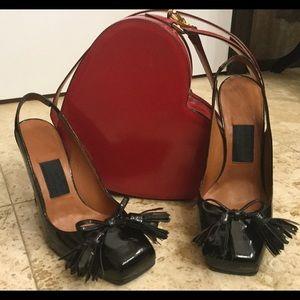 Lanvin Shoes - 💣SALE💣Lanvin black patient leather Crome heel