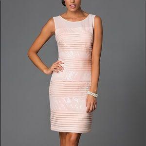 sangria Dresses & Skirts - Sequin and Mesh Knee Length Sleeveless Dress