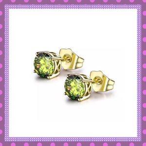 💚18K Yellow Gold Filled Peridot Stud Earrings💚
