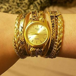 Sloggi Accessories - Wrap around gold and snake print watch