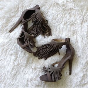 Mossimo Supply Co. Shoes - MOSSIMO taupe faux suede fringe ankle strap heels