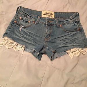 Dollhouse washed out denim shorts